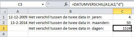 Excel functie DATUMVERSCHIL